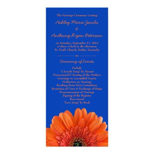 Orange Daisy Flower Royal Blue Wedding Program Rack Card