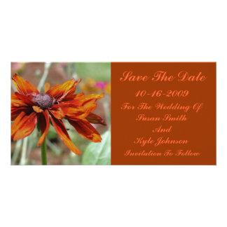 Orange Daisy Flower Wedding Save The Date Card