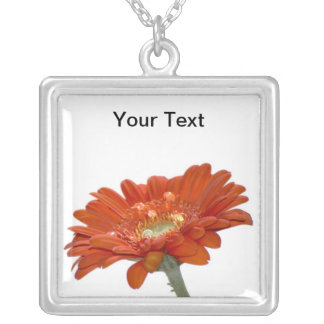 Orange Daisy Gerbera Flower Square Pendant Necklace