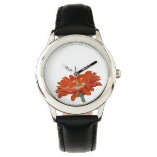 Orange Daisy Gerbera Flower Wrist Watch