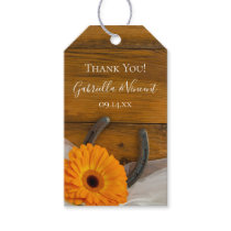Orange Daisy Horseshoe Western Wedding Favor Tags