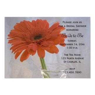 Orange Daisy in Vase Bridal Shower Card