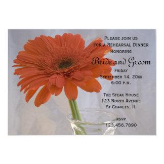 Orange Daisy in Vase Wedding Rehearsal Dinner Card