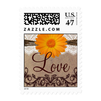 Orange Daisy LOVE Wedding Postage Stamps
