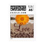 Orange Daisy LOVE Wedding Postage Stamps