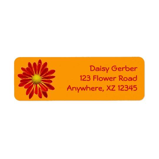 Orange Daisy Mum Label