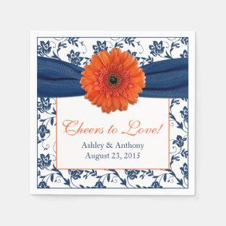 Orange Daisy Navy Blue Damask Personalized Wedding Paper Napkin