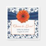 Orange Daisy Navy Blue Damask Personalized Wedding Standard Cocktail Napkin