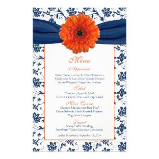 Orange Daisy Navy Blue Damask Wedding Menu Card