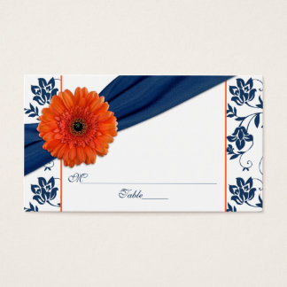 Orange Daisy Navy Blue Floral Wedding Place Cards