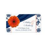 Orange Daisy Navy Damask Wedding Return Address Label
