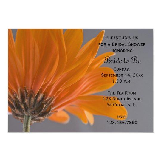 Orange Daisy on Gray Bridal Shower Invitation
