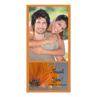 Orange Daisy on Gray Wedding Thank You Card