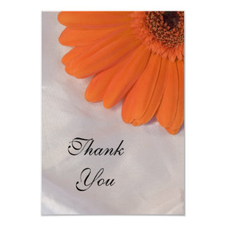 Orange Daisy on White Satin Flat Thank You Notes Card