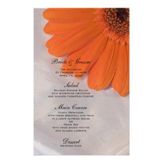 Orange Daisy on White Satin Wedding Menu