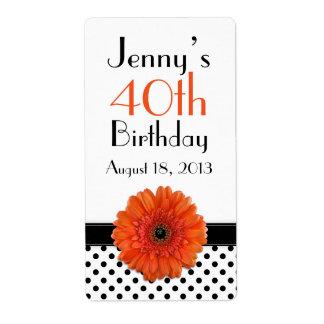 Orange Daisy Polka Dot Birthday Labels Favor Tags