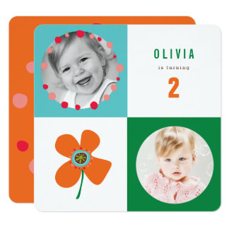 Orange Daisy Pop Square Girl Birthday Photo Invite
