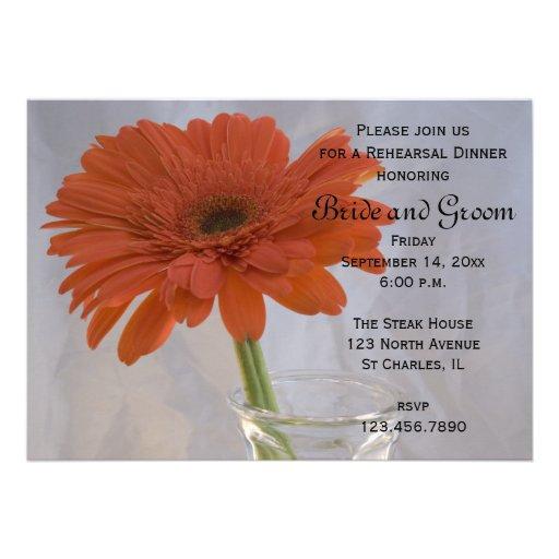 Orange Daisy Rehearsal Dinner Invitation