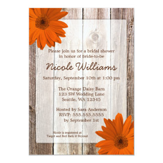 Orange Daisy Rustic Barn Wood Bridal Shower 5x7 Paper Invitation Card