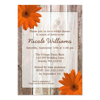 Orange Daisy Rustic Barn Wood Bridal Shower Card