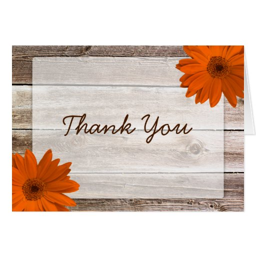 Orange Daisy Rustic Barn Wood Thank You Stationery Note Card