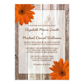 Orange Daisy Rustic Barn Wood Wedding Card