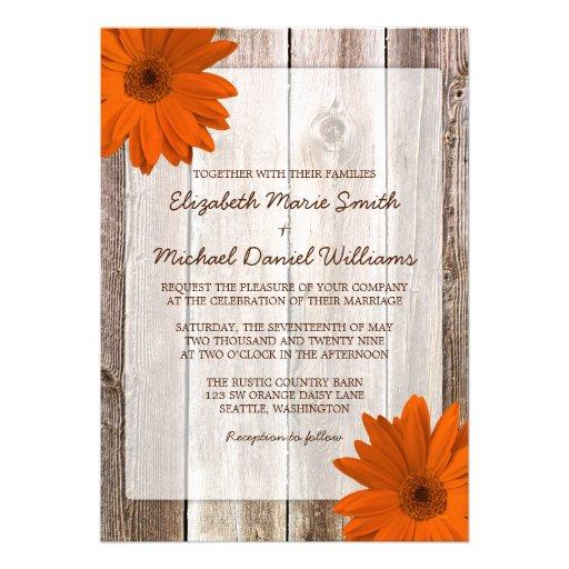 Orange Daisy Rustic Barn Wood Wedding Invite