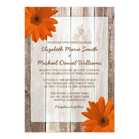 Rustic Daisy Wedding Invitations: Orange Daisy Rustic Barn Wood Wedding Invitation