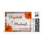 Orange Daisy Rustic Barn Wood Wedding Postage Stamps