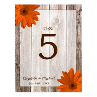 Orange Daisy Rustic Barn Wood Wedding Table Number Post Card