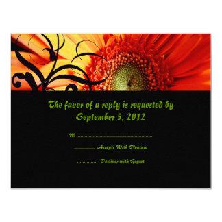 Orange Daisy Wedding RSVP Card