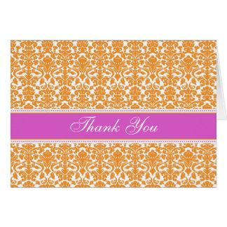 Orange Damask Baby Shower Hostess Thank You Card