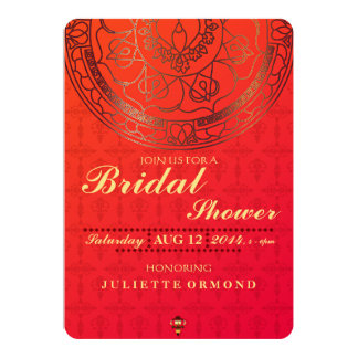 Orange Damask Bridal Shower Invitation