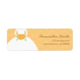 Orange Damask Bridal Shower Label