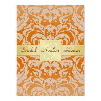 Orange Damask Bridal Shower Monogram Invitation