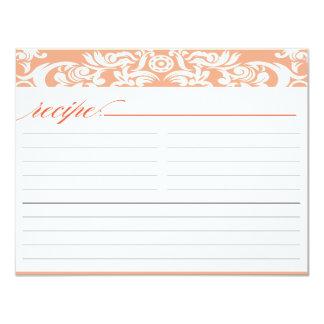 Orange Damask Bridal Shower Recipe Card