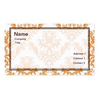 Orange Damask Business Card