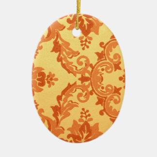 Orange Damask Ceramic Ornament