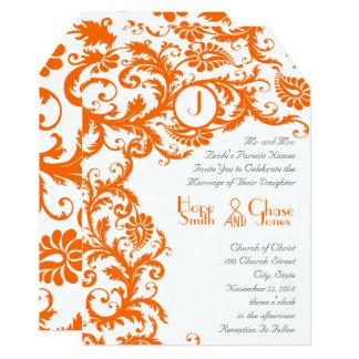Orange Damask Coral Monogram Wedding Invitation