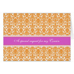 Orange Damask Cousin Maid of Honor Invitation Greeting Card