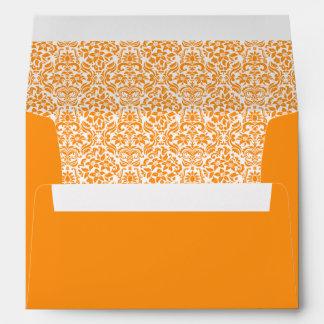 Orange Damask Custom Envelope w/ Return Address