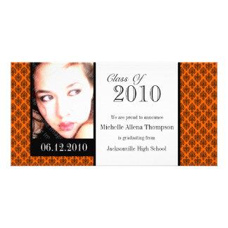 Orange Damask Graduation Announcement Photo Cards