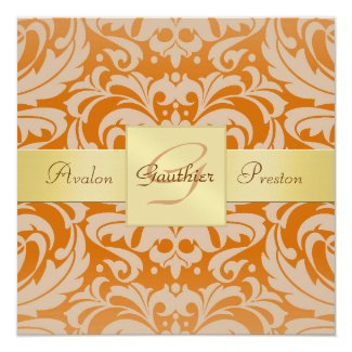 "Orange Damask Monogram Gold Ribbon Invitation 5.25"" Square Invitation Card"