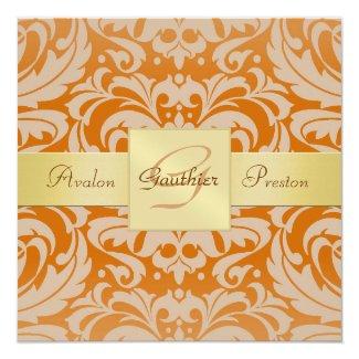 "Orange Damask Monogram Gold Ribbon Invitation 5.25"" Square Invitation Card"