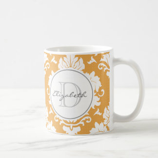 Orange Damask Monogrammed Mug