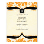 orange damask Paisley Wedding save the date Card