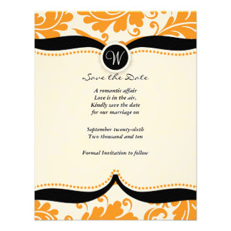 orange damask Paisley Wedding save the date Custom Announcement