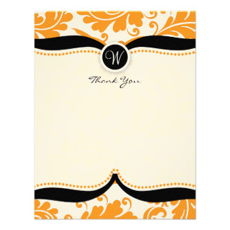 Orange Damask Paisley Wedding Thank you Personalized Invites