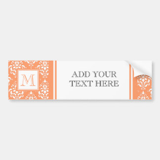 Orange Damask Pattern 1 with Monogram Car Bumper Sticker