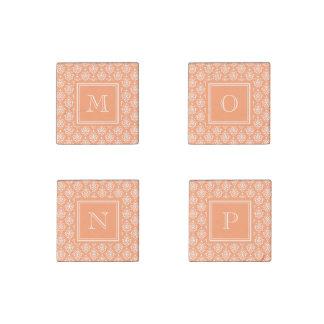 Orange Damask Pattern 1 with Monogram Stone Magnet